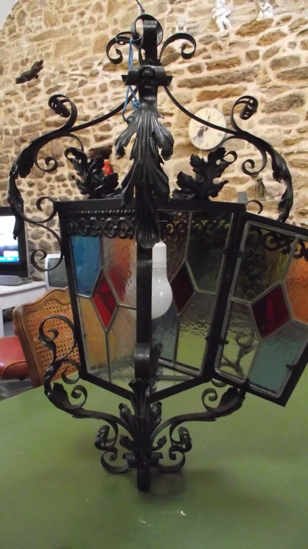brocanamau lanterne d entr e fer forg vitraux fin xix me. Black Bedroom Furniture Sets. Home Design Ideas